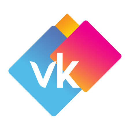 Letter VK with colorful geometric shape, letter combination design for creative industry, web, business and company.