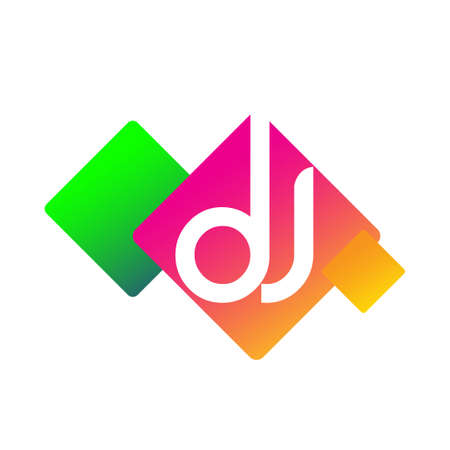 Letter DJ with colorful geometric shape, letter combination design for creative industry, web, business and company.