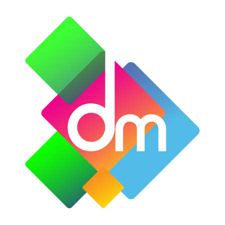 Letter DM with colorful geometric shape, letter combination design for creative industry, web, business and company.