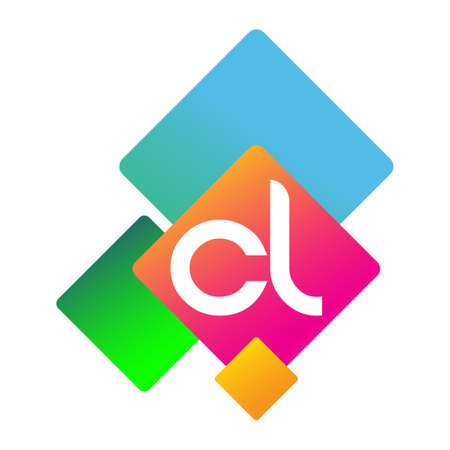 Letter CL with colorful geometric shape, letter combination design for creative industry, web, business and company. Ilustracja