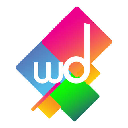Letter WD with colorful geometric shape, letter combination design for creative industry, web, business and company.
