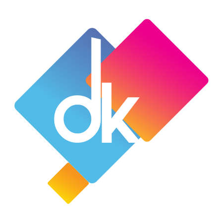 Letter DK with colorful geometric shape, letter combination design for creative industry, web, business and company.