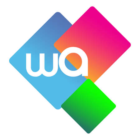 Letter WA with colorful geometric shape, letter combination design for creative industry, web, business and company.