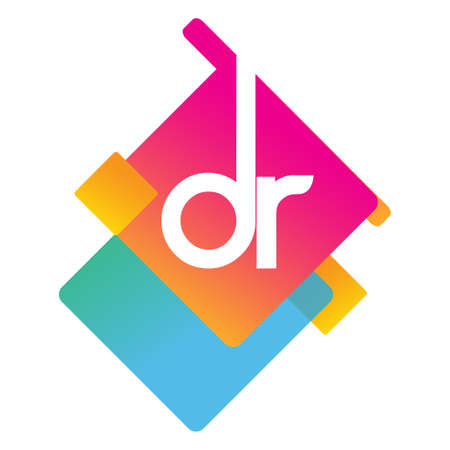 Letter DR with colorful geometric shape, letter combination design for creative industry, web, business and company.