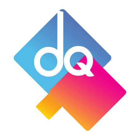 Letter DQ with colorful geometric shape, letter combination design for creative industry, web, business and company. Ilustracja