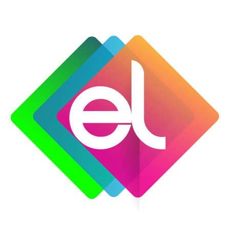 Letter EL logo with colorful geometric shape, letter combination logo design for creative industry, web, business and company.