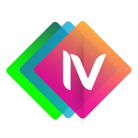 Letter IV logo with colorful geometric shape, letter combination logo design for creative industry, web, business and company.