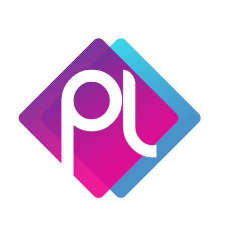 Letter PL   with colorful geometric shape, letter combination   design for creative industry, web, business and company. Ilustrace