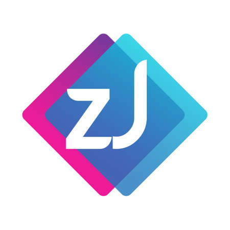 Letter ZJ with colorful geometric shape, letter combination design for creative industry, web, business and company.