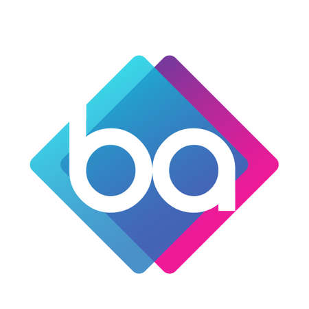 Letter BA with colorful geometric shape, letter combination design for creative industry, web, business and company. Ilustracja