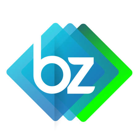 Letter BZ with colorful geometric shape, letter combination design for creative industry, web, business and company.