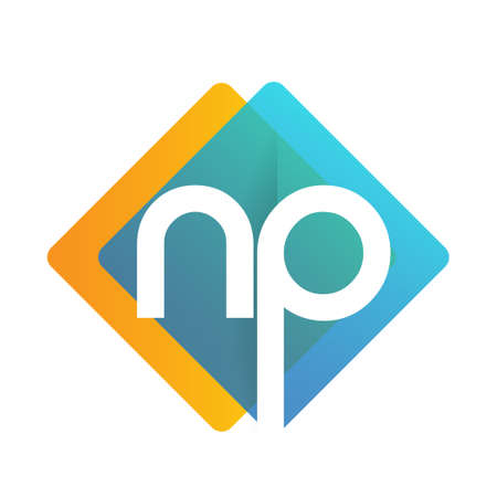 Letter NP with colorful geometric shape, letter combination design for creative industry, web, business and company.