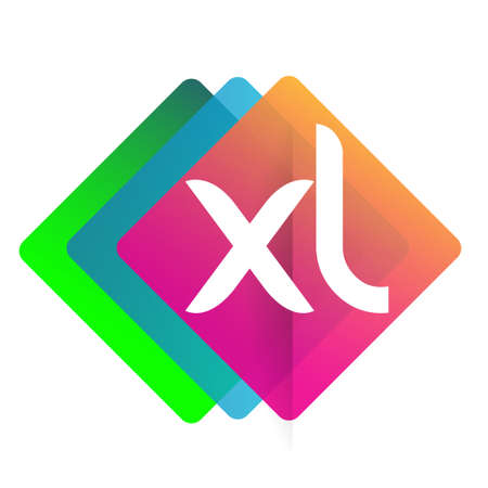 Letter XL with colorful geometric shape, letter combination design for creative industry, web, business and company. Ilustracja
