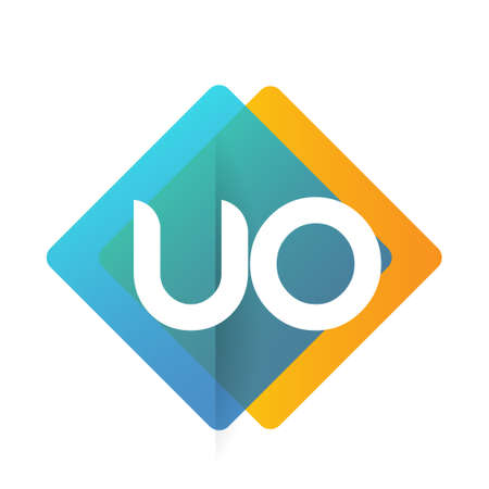 Letter UO with colorful geometric shape, letter combination design for creative industry, web, business and company. Ilustracja