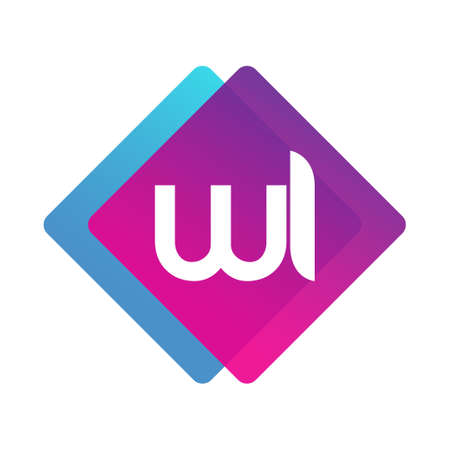 Letter WI with colorful geometric shape, letter combination design for creative industry, web, business and company. Ilustracja