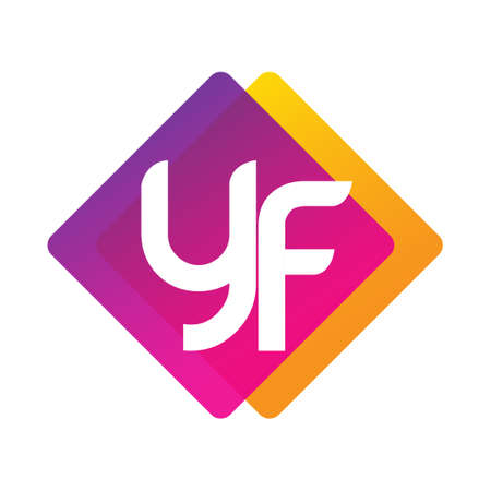 Letter YF with colorful geometric shape, letter combination design for creative industry, web, business and company. Ilustracja