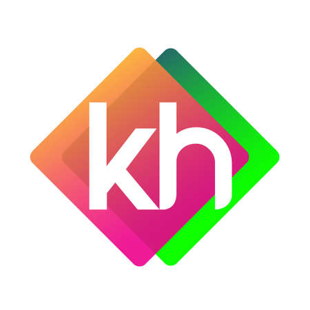 Letter KH with colorful geometric shape, letter combination design for creative industry, web, business and company.