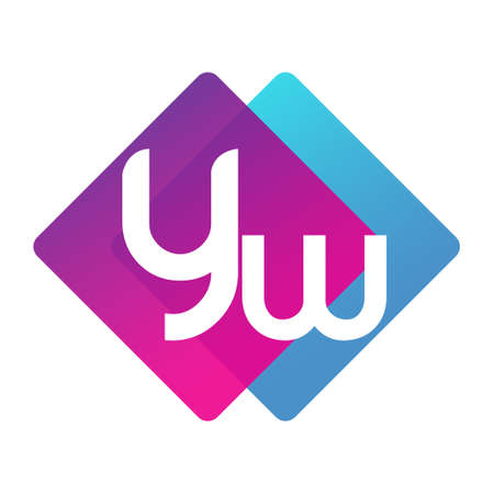 Letter YW with colorful geometric shape, letter combination design for creative industry, web, business and company.