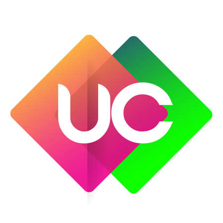 Letter UC logo with colorful geometric shape, letter combination logo design for creative industry, web, business and company.