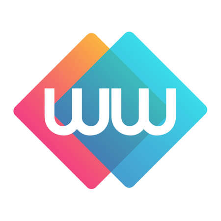 Letter WW with colorful geometric shape, letter combination design for creative industry, web, business and company.