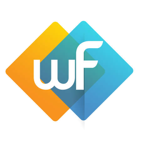 Letter WF with colorful geometric shape, letter combination design for creative industry, web, business and company.