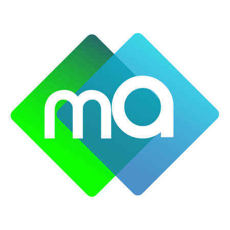 Letter MA logo with colorful geometric shape, letter combination logo design for creative industry, web, business and company.