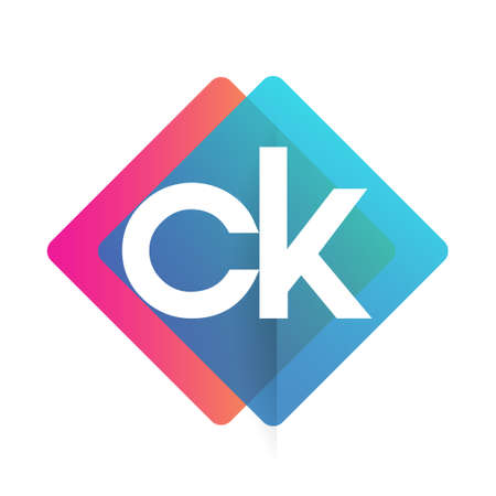Letter CK logo with colorful geometric shape, letter combination logo design for creative industry, web, business and company.