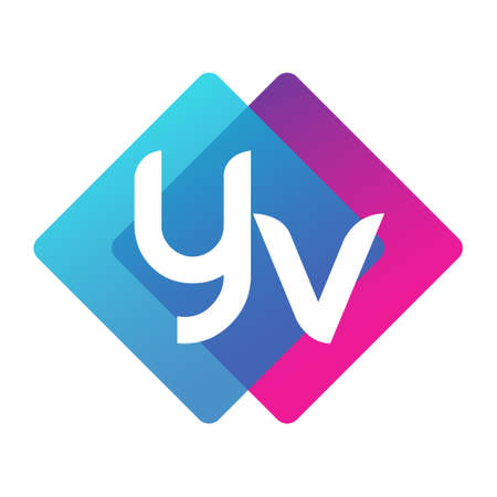 Letter YV with colorful geometric shape, letter combination design for creative industry, web, business and company.