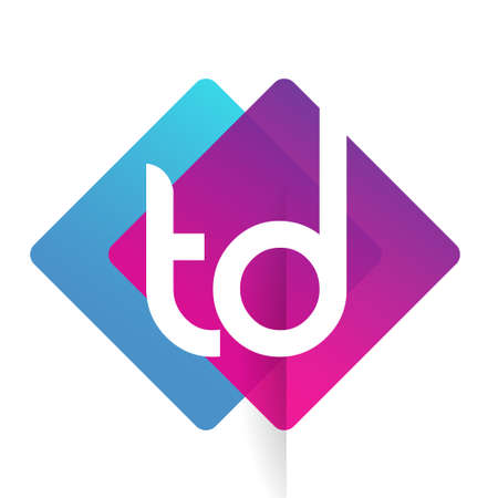 Letter TD with colorful geometric shape, letter combination design for creative industry, web, business and company.