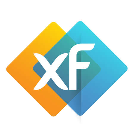 Letter XF with colorful geometric shape, letter combination design for creative industry, web, business and company. Ilustracja