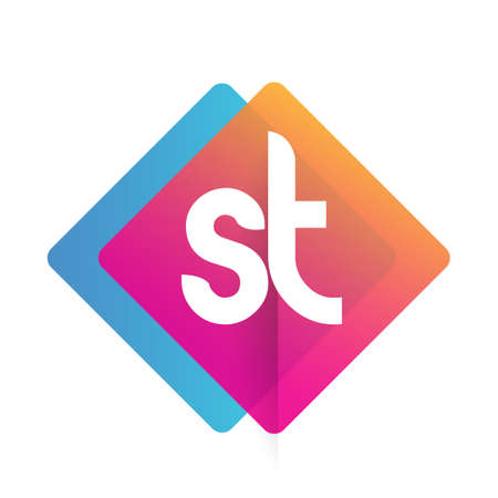 Letter ST with colorful geometric shape, letter combination design for creative industry, web, business and company.
