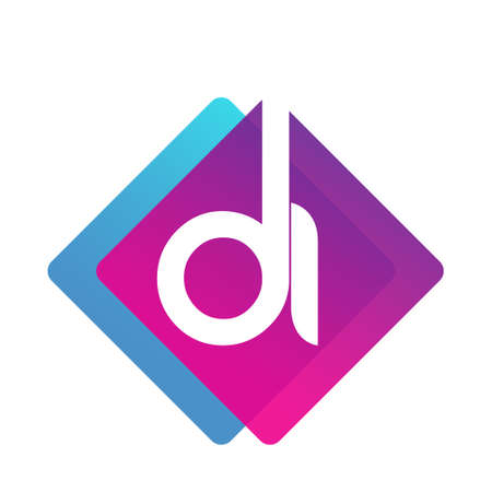 Letter DI with colorful geometric shape, letter combination design for creative industry, web, business and company. Ilustracja