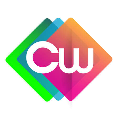Letter CW with colorful geometric shape, letter combination design for creative industry, web, business and company. Ilustracja