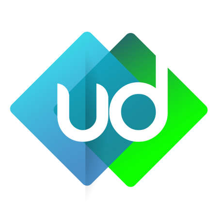 Letter UD with colorful geometric shape, letter combination design for creative industry, web, business and company.