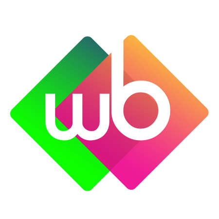 Letter WB with colorful geometric shape, letter combination design for creative industry, web, business and company.