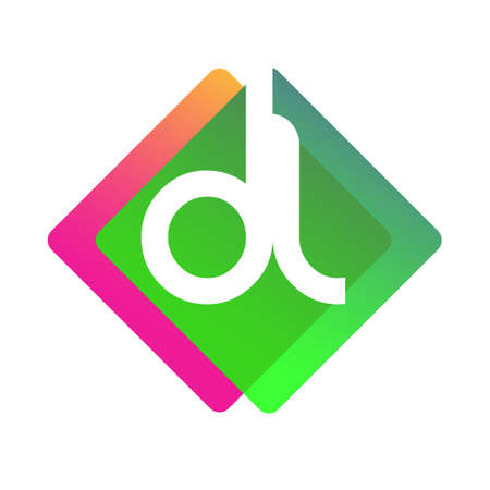 Letter DL with colorful geometric shape, letter combination design for creative industry, web, business and company.