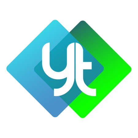 Letter YT with colorful geometric shape, letter combination design for creative industry, web, business and company.
