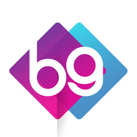 Letter BG with colorful geometric shape, letter combination design for creative industry, web, business and company. Ilustracja