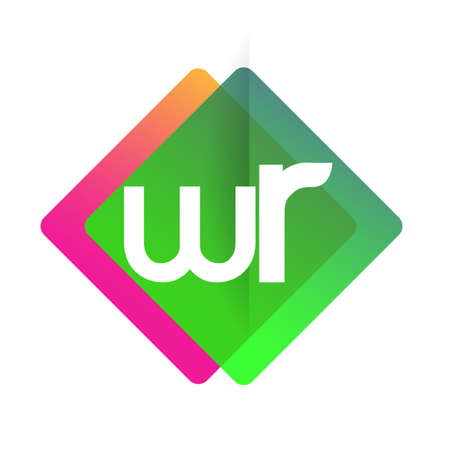 Letter WR with colorful geometric shape, letter combination design for creative industry, web, business and company.