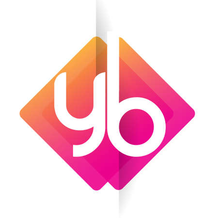 Letter YB with colorful geometric shape, letter combination design for creative industry, web, business and company.