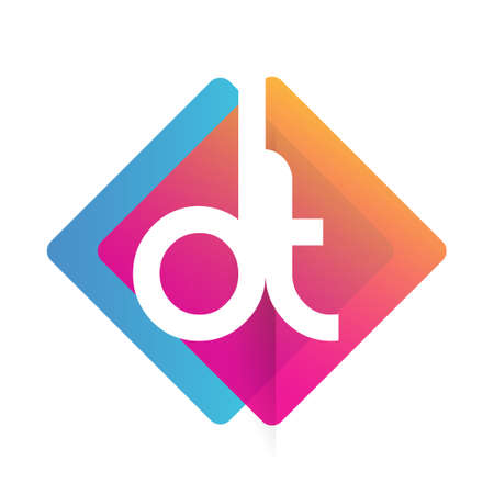 Letter DT logo with colorful geometric shape, letter combination logo design for creative industry, web, business and company. Logó