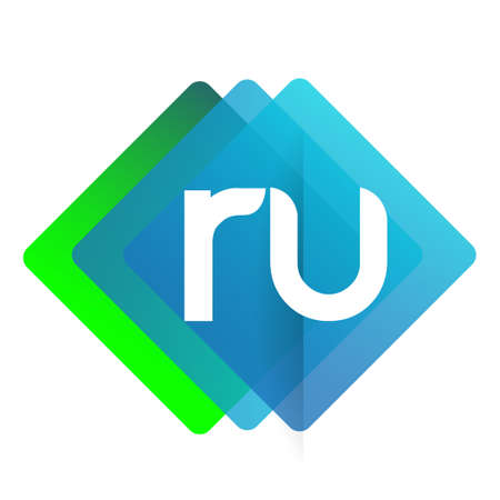 Letter RU logo with colorful geometric shape, letter combination logo design for creative industry, web, business and company.