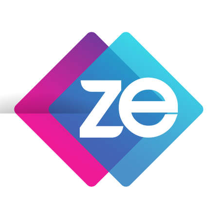 Letter ZE logo with colorful geometric shape, letter combination logo design for creative industry, web, business and company.