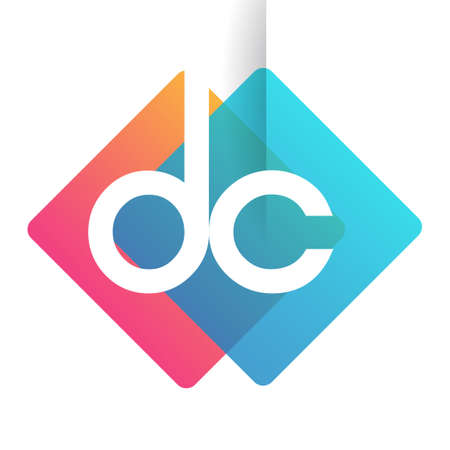 Letter DC logo with colorful geometric shape, letter combination logo design for creative industry, web, business and company.