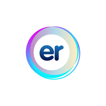 Letter ER with colorful circle, letter combination design with ring, circle object for creative industry, web, business and company.