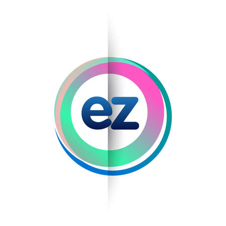 Letter EZ with colorful circle, letter combination design with ring, circle object for creative industry, web, business and company.