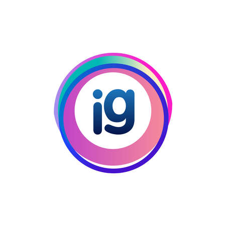 Letter IG with colorful circle, letter combination design with ring, circle object for creative industry, web, business and company.