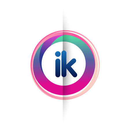 Letter IK with colorful circle, letter combination design with ring, circle object for creative industry, web, business and company.