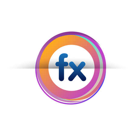 Letter FX with colorful circle, letter combination design with ring, circle object for creative industry, web, business and company.