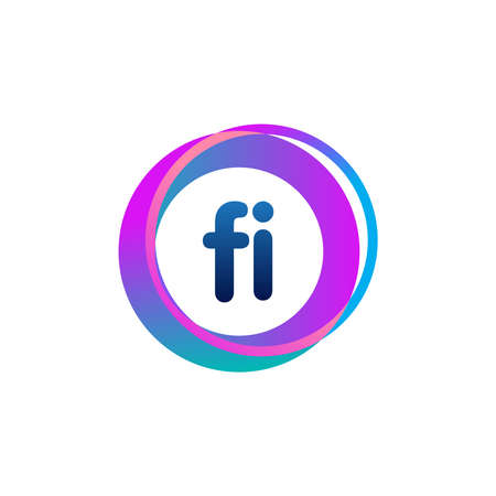 Letter FI logo with colorful circle, letter combination logo design with ring, circle object for creative industry, web, business and company. Ilustração
